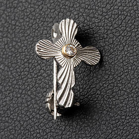 Clergy rounded cross pin in 925 silver s2