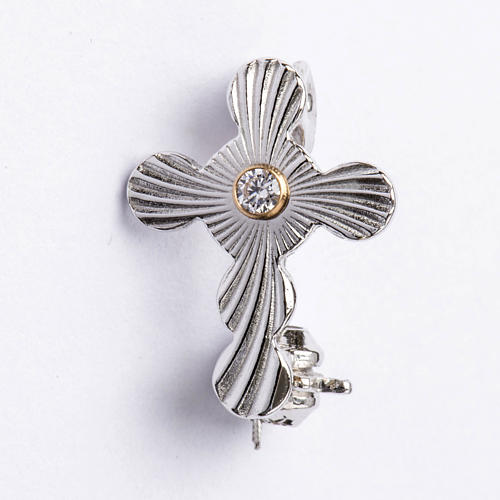 Clergy rounded cross pin in 925 silver 1