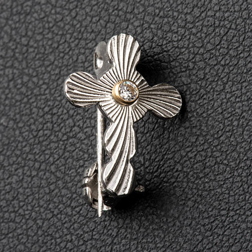 Clergy rounded cross pin in 925 silver 2