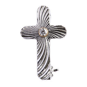 Clergy cross lapel pins: Clergy cross lapel pin in reeded 925 silver