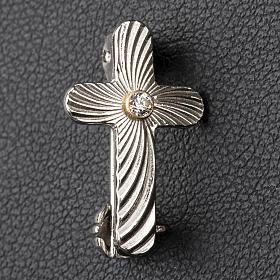Broche Clergyman cruz moleteada plata de ley y zircón s2