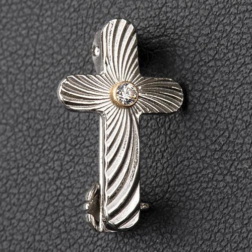 Broche Clergyman cruz moleteada plata de ley y zircón 2