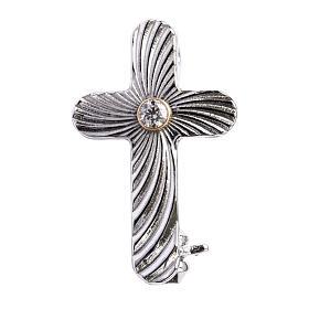 Broches Religiosos: Broche de sacerdote cruz serrilhada prata 925