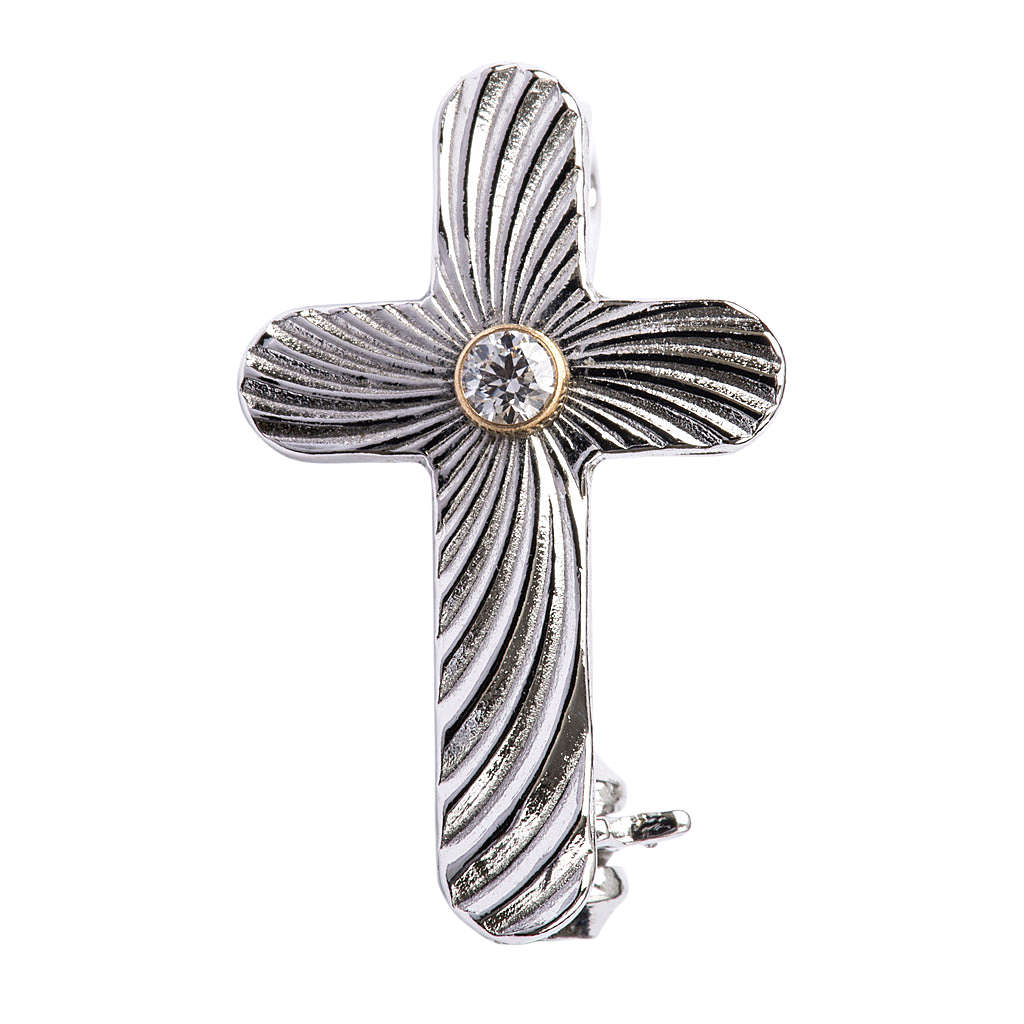 Clergy cross lapel pin in reeded 925 silver 4