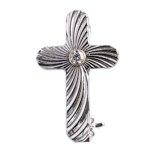 Clergy cross lapel pin in reeded 925 silver 1