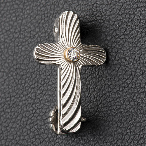 Clergy cross lapel pin in reeded 925 silver 2