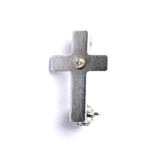 Lapel pin classic priest cross in 925 silver with zircon 1