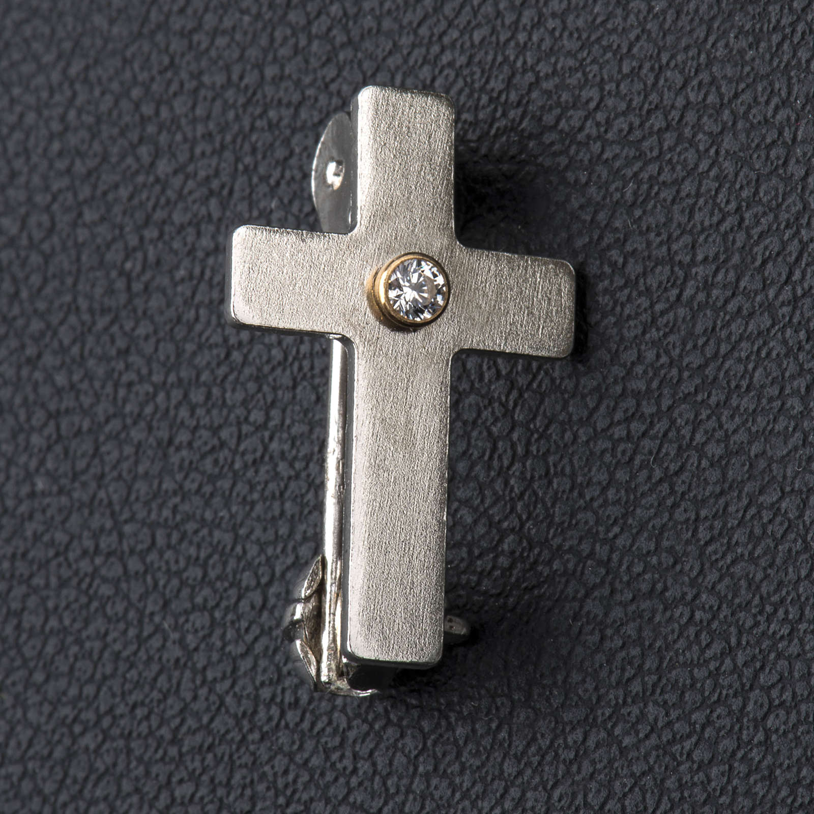 Croce clergyman classica zircone arg. 925 4