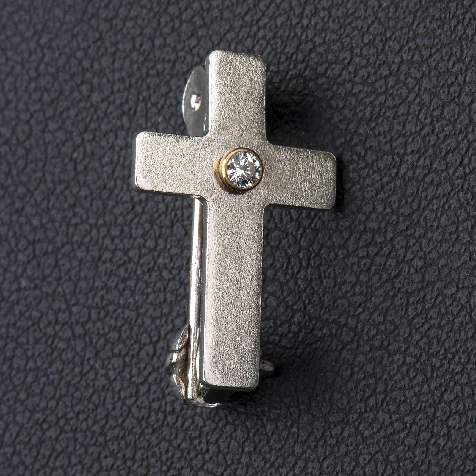 Broche de sacerdote cruz clássica zircão prata 925 4