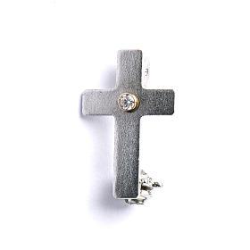 Broche de sacerdote cruz clássica zircão prata 925 s1
