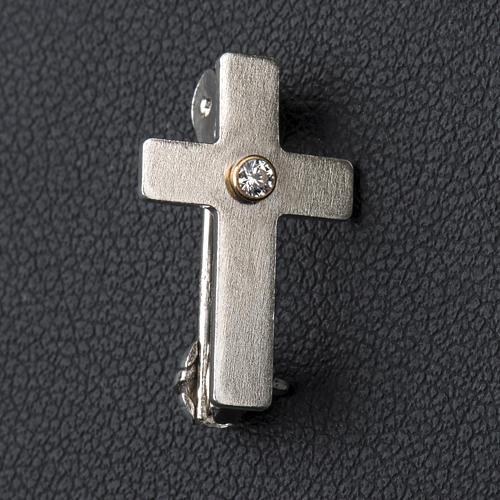 Broche de sacerdote cruz clássica zircão prata 925 2