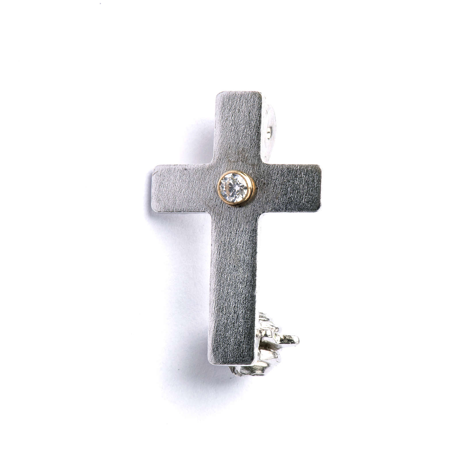 Lapel pin classic priest cross in 925 silver with zircon 4