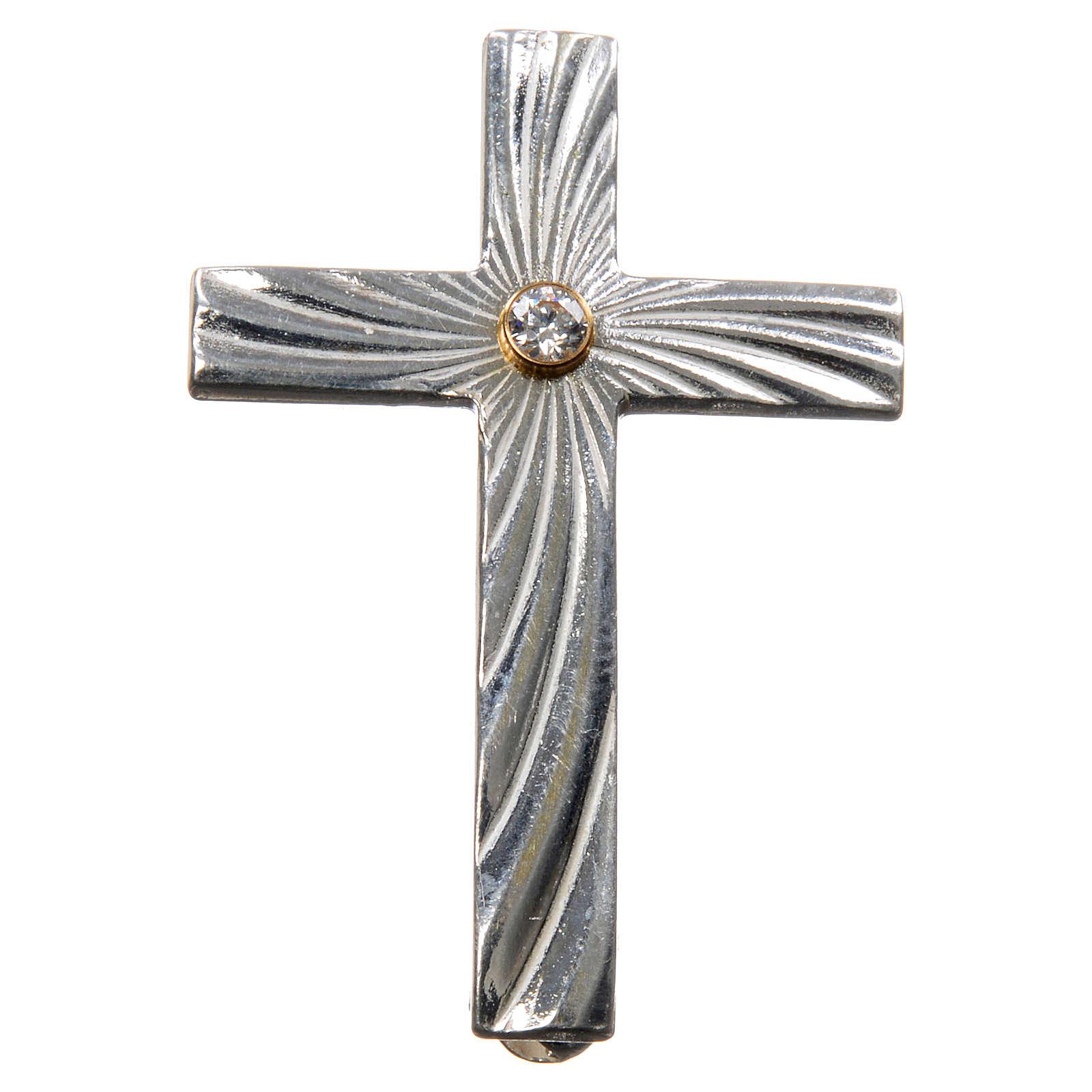 Cruz Clergyman plata de ley zircón 4