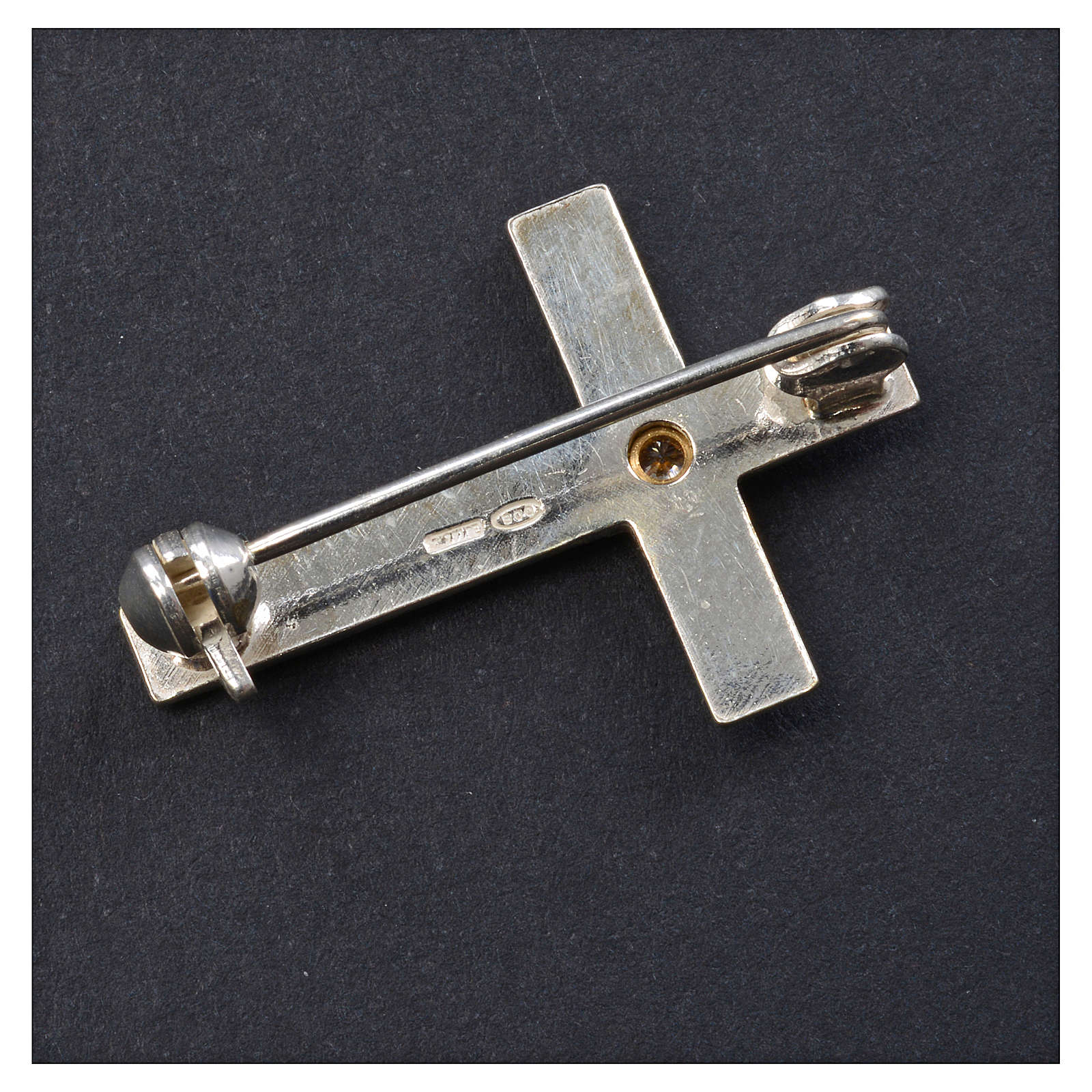 Croce Clergyman argento 925 zircone 4