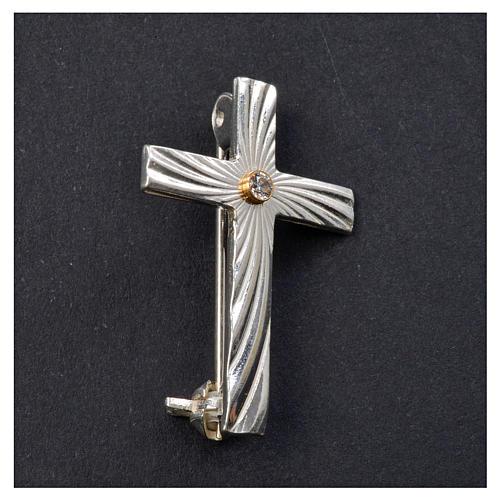 Croce Clergyman argento 925 zircone 5