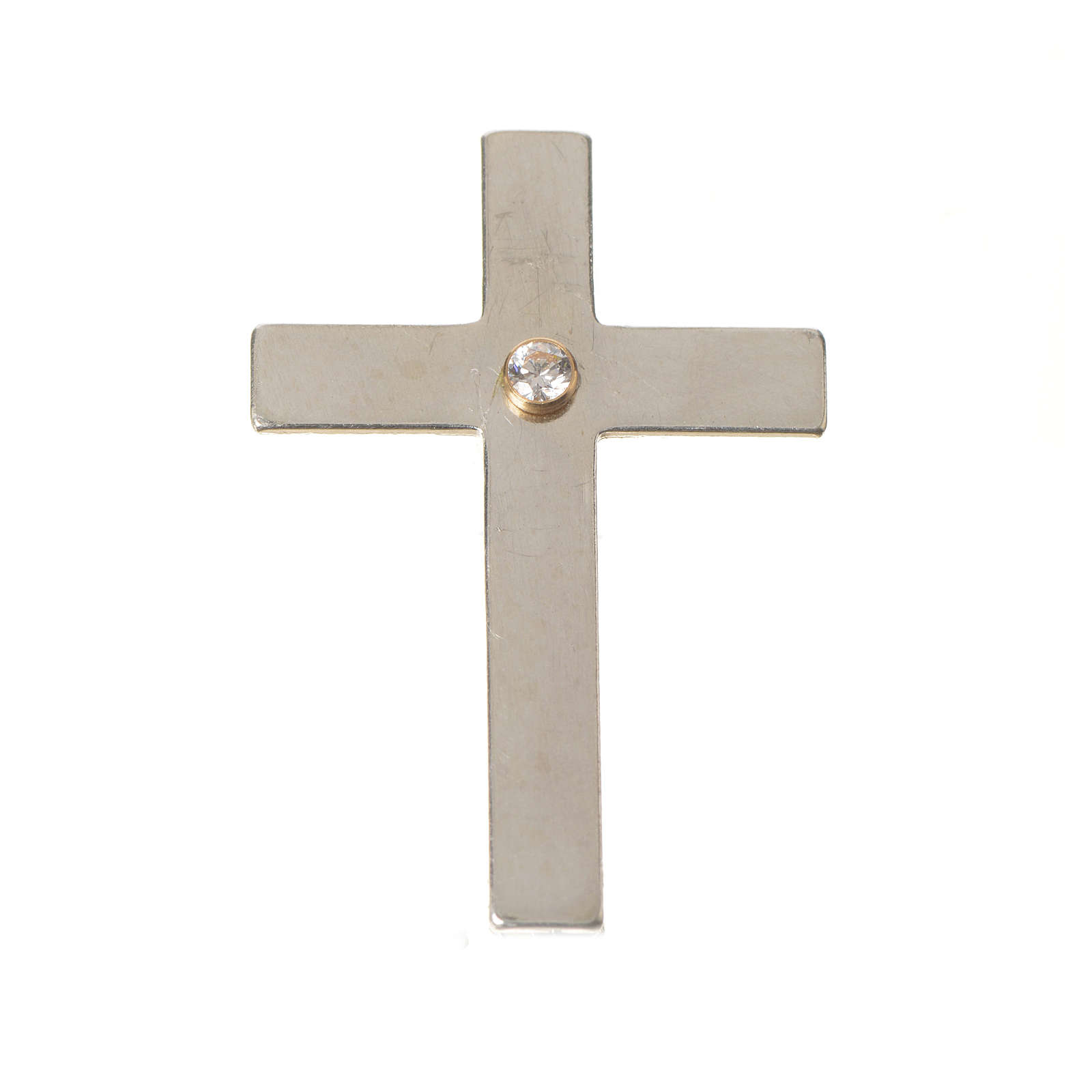 Lapel pin priest cross in 925 silver with zircon 4
