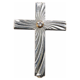 Lapel pin priest cross in 925 silver with zircon s4