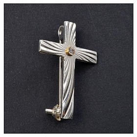 Lapel pin priest cross in 925 silver with zircon s5