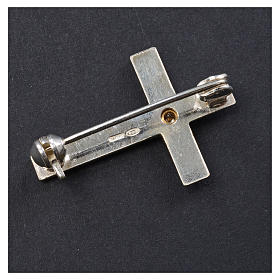 Lapel pin priest cross in 925 silver with zircon s6