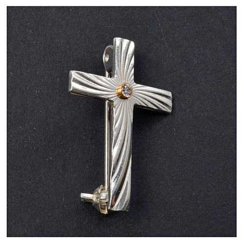 Lapel pin priest cross in 925 silver with zircon 5