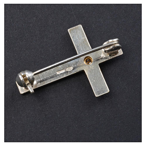 Lapel pin priest cross in 925 silver with zircon 6