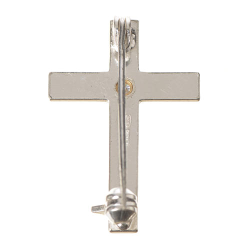 Lapel pin priest cross in 925 silver with zircon 9