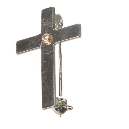 Lapel pin priest cross in 925 silver with zircon 2