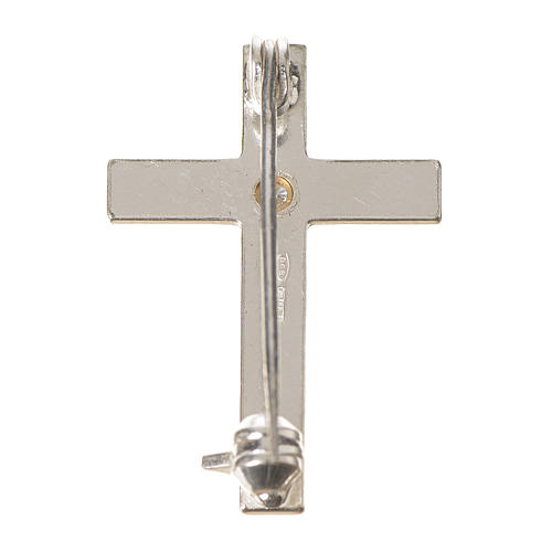 Lapel pin priest cross in 925 silver with zircon 3