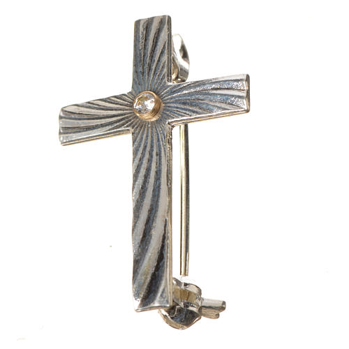 Clergy cross lapel pin in 925 silver with zircon 8