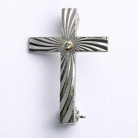 Clergy cross lapel pin in 800 silver with zircon s1