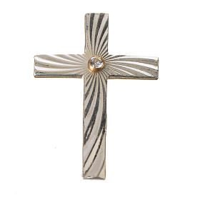 Clergy cross lapel pin in 925 silver with zircon s7