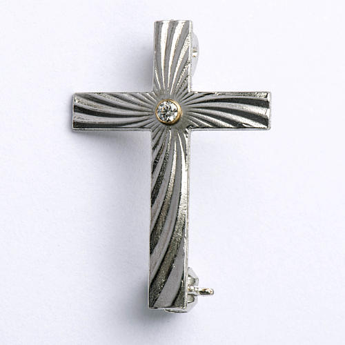 Clergy cross lapel pin in 800 silver with zircon 1