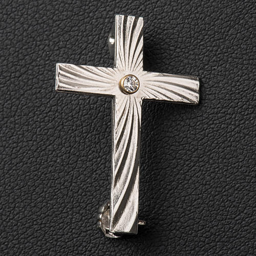 Clergy cross lapel pin in 800 silver with zircon 4