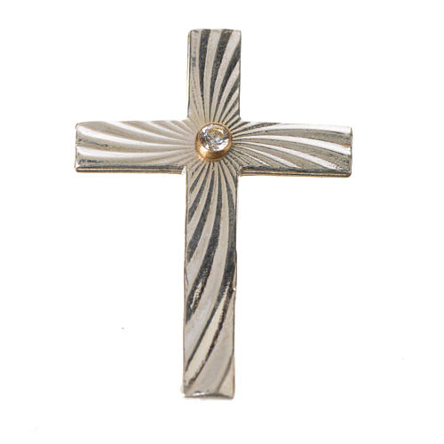 Clergy cross lapel pin in 800 silver with zircon 10