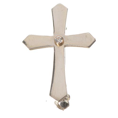 Cruz Clergyman punta plata 800 zircón 1