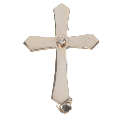 Clergyman croce a punta arg. 925 zircone 4