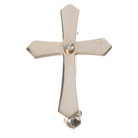 Clergy cross lapel pin with pointed edges in 925 silver zircon s4
