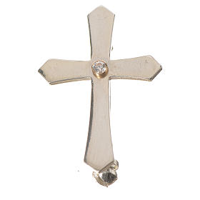 Clergy cross lapel pin with pointed edges in 925 silver zircon s1