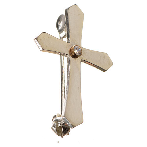 Clergy cross lapel pin with pointed edges in 925 silver zircon 2