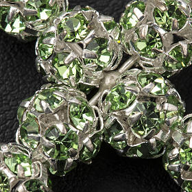 Cruz de plata y strass verde 8mm s3
