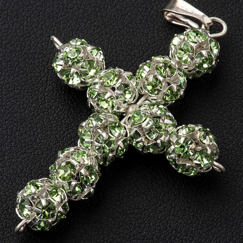 Croix argent strass verts 8 mm 4