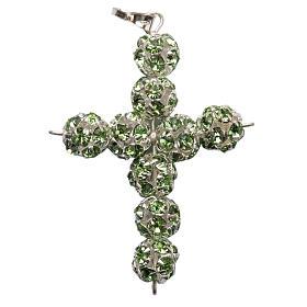 Croix argent strass verts 8 mm s1