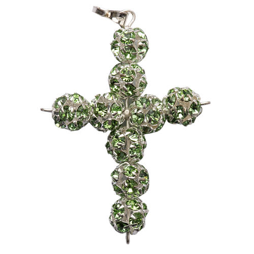Croix argent strass verts 8 mm 1