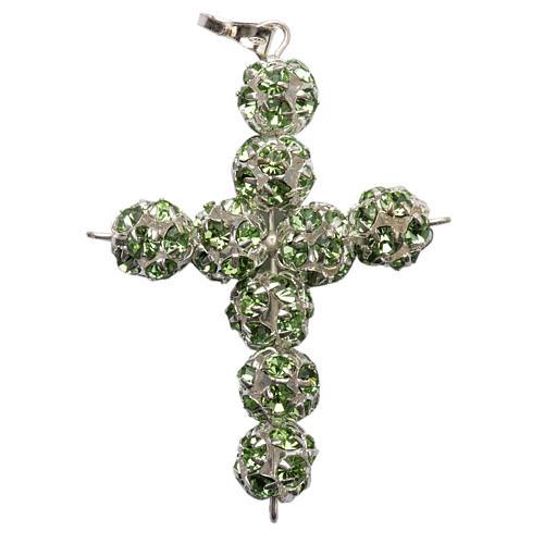 Croce argento Strass verde 8 mm 1