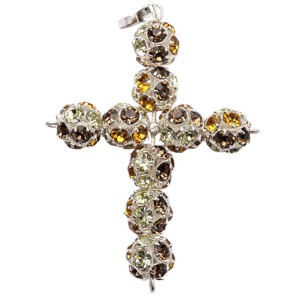 Croce argento Strass multi marrone 8 mm 4