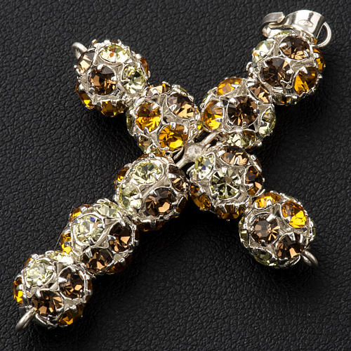 Croce argento Strass multi marrone 8 mm 2