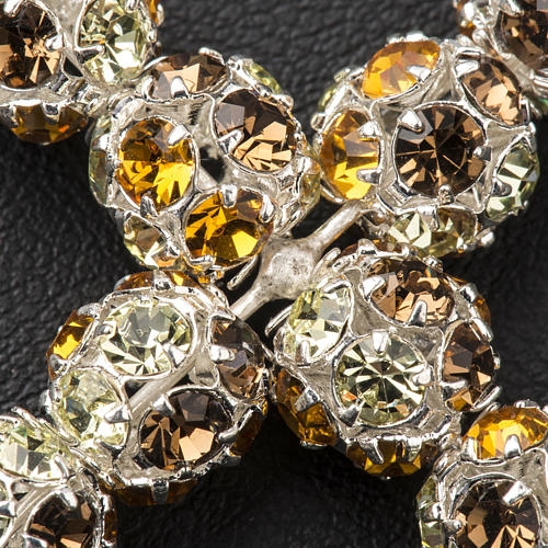 Croce argento Strass multi marrone 8 mm 3