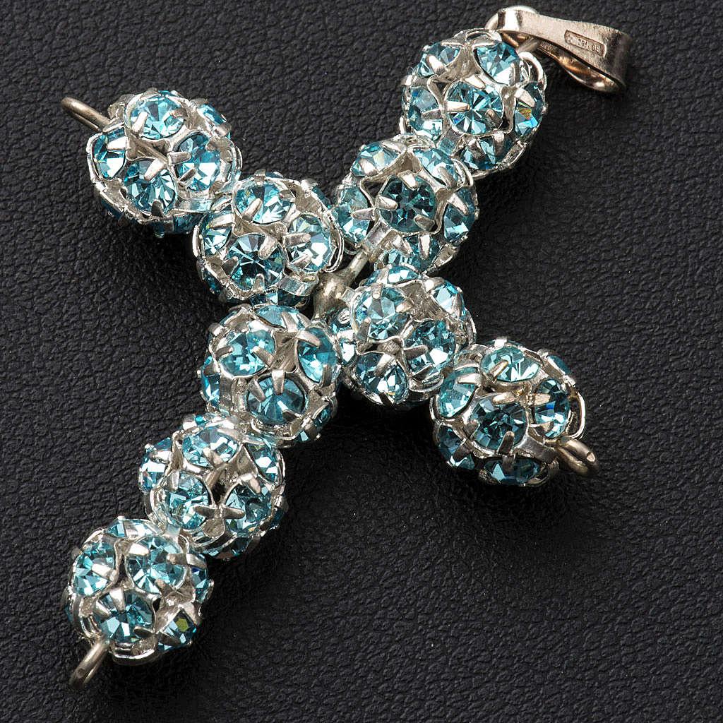 Cruz de strass azul celeste 8mm 4