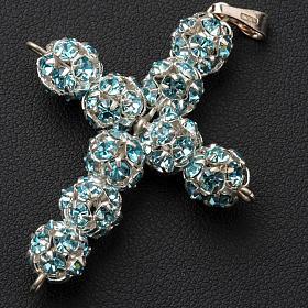 Cruz de strass azul celeste 8mm s2
