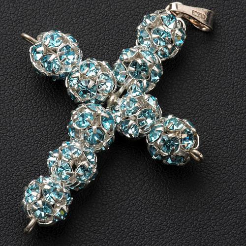 Cruz de strass azul celeste 8mm 2